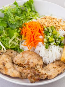 Vermicelli with Grilled Chicken & Egg Roll